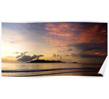Sunrise over Dunk Island with clouds Poster