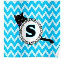 S Cat Chevron Monogram Poster