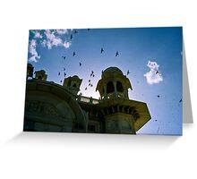 Bird fly over temple in Jodhpur, India Greeting Card