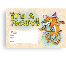 It's a party - Invitation with jumping cat. Canvas Print