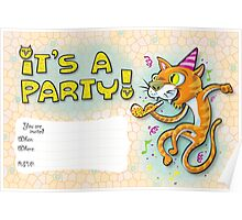 It's a party - Invitation with jumping cat. Poster