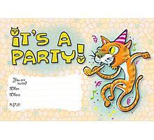 It's a party - Invitation with jumping cat. Photographic Print
