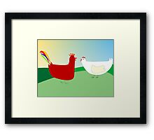 chicken and rooster Framed Print