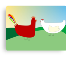 chicken and rooster Canvas Print