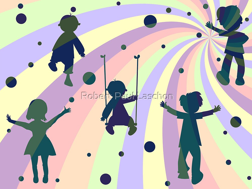 children, rays and bubbles by Laschon Robert Paul