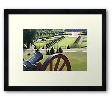 19th century cannon overlooking park Framed Print