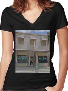 Dirty Sally's Saloon, Brunswick, Missouri, USA Women's Fitted V-Neck T-Shirt