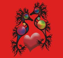 Black Seahorses and red heart One Piece - Short Sleeve
