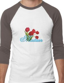 Madison With Red Tulips and Neon Blue Script Men's Baseball ¾ T-Shirt