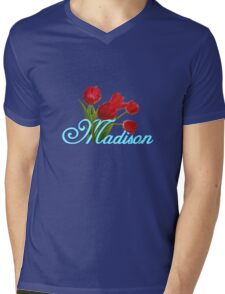 Madison With Red Tulips and Neon Blue Script Mens V-Neck T-Shirt