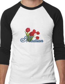 Madison With Red Tulips and Cobalt Blue Script Men's Baseball ¾ T-Shirt