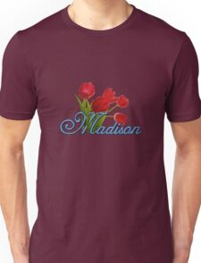 Madison With Red Tulips and Cobalt Blue Script Unisex T-Shirt