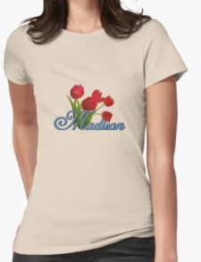 Madison With Red Tulips and Cobalt Blue Script Womens Fitted T-Shirt