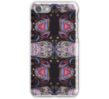Abstract Beautiful Floral Seamless Illustrated Pattern Vector Art Black Background iPhone Case/Skin