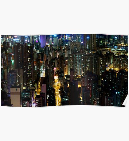 A view of Mong Kok from above Poster