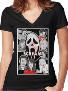 Scream character collage Women's Fitted V-Neck T-Shirt