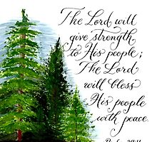 Inspirational handwritten peace verse with trees by Melissa Goza