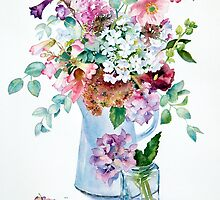 Phlox and Hydrangeas by Ann Mortimer