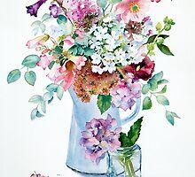 Phlox and Hydrangeas by Ann Mortimer