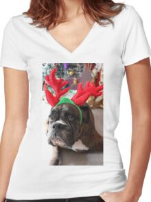 Reindeer This Year?...... Anything For That Cookie! - Boxer Dogs Series Women's Fitted V-Neck T-Shirt