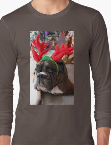 Reindeer This Year?...... Anything For That Cookie! - Boxer Dogs Series Long Sleeve T-Shirt