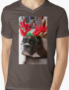 Reindeer This Year?...... Anything For That Cookie! - Boxer Dogs Series Mens V-Neck T-Shirt