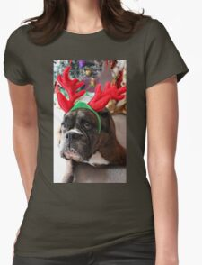 Reindeer This Year?...... Anything For That Cookie! - Boxer Dogs Series Womens Fitted T-Shirt
