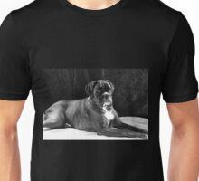 Brindle Female Boxer Portrait in Black & White  - Boxer Dogs Series Unisex T-Shirt