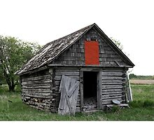 Old Log Cabin on the Prairies Photographic Print