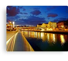 Bilbao Blue Hour - University of Deusto and the river Nervion Canvas Print