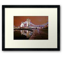 Reflections of Tower Bridge - London Night Framed Print