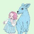 Dotty and Roo - green background by jellibat