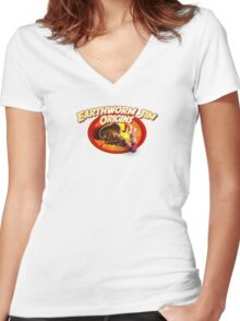earthworm jim origin Women's Fitted V-Neck T-Shirt