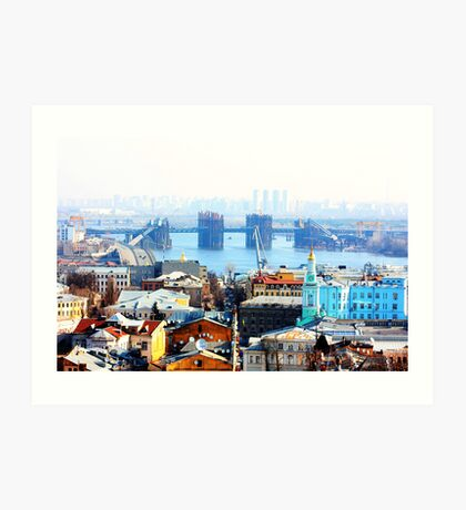 Kiev bussines and industry city landscape on river, bringe, and buildings Art Print