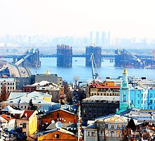 Kiev bussines and industry city landscape on river, bringe, and buildings by a1luha