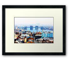 Kiev bussines and industry city landscape on river, bringe, and buildings Framed Print