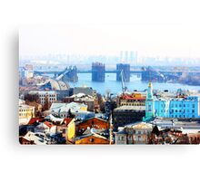 Kiev bussines and industry city landscape on river, bringe, and buildings Canvas Print