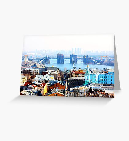 Kiev bussines and industry city landscape on river, bringe, and buildings Greeting Card