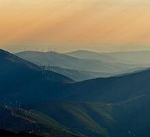 soft rays and windmills, Parque Natural Da Serra Da Estrela, Portugal by Andrew Jones