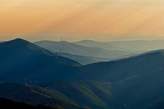 soft rays and windmills, Parque Natural Da Serra Da Estrela, Portugal by Andrew Jones