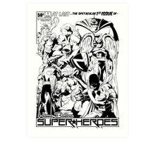 HANNA-BARBERA SUPER HEROES BLACK AND WHITE Art Print