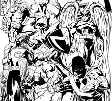 HANNA-BARBERA SUPER HEROES BLACK AND WHITE by dinshoran