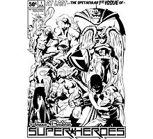 HANNA-BARBERA SUPER HEROES BLACK AND WHITE Photographic Print