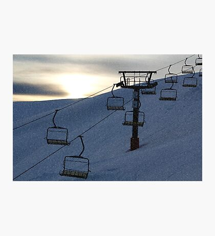 Evening snowfall on the mountainside Photographic Print