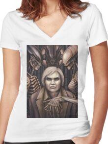 Giger Portrait Women's Fitted V-Neck T-Shirt