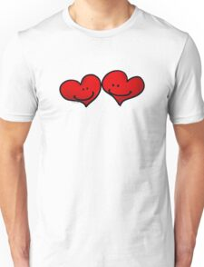 Sweet 2 red hearts in love Unisex T-Shirt