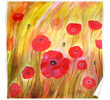 Field of Poppies- Acrylic Painting Poster
