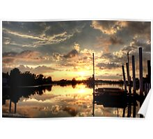 Sunset at the Docks Poster