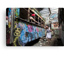 Reese and Shani ride a Tram Canvas Print