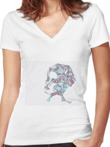 Beautiful Woman Abstract Portrait Women's Fitted V-Neck T-Shirt